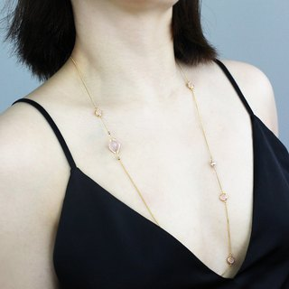 Miss Queeny Original | Peach Blossom Natural Pearl Crystal Long Chain/Necklace