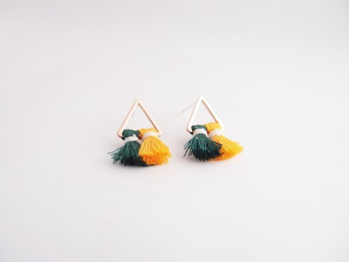 Geometric dark green tassel. Silver Earrings