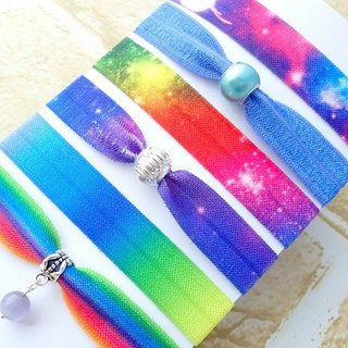 Hair Ties,Set of 6,Elastic Hair Ties,Purple Blue Rainbow,Galaxy,Charm,No Crease,Creaseless,Ponytail Holders,Bracelet