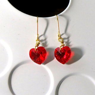 Marine  14KGF Romantic red heart Swarovski crystal earrings