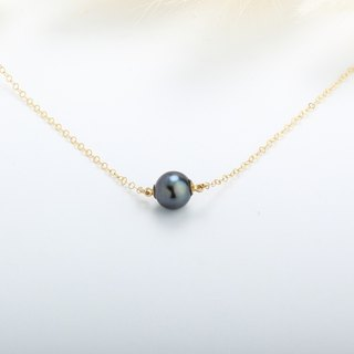 14KGF Gold-Filled Deep Green Pearl Natural Freshwater Silver Sterling necklace