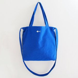 [Bone] big canvas bag (can be used on both sides) / side backpack diagonal backpack embroidery bag