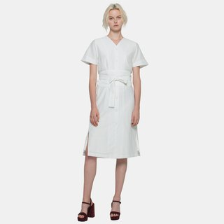 Wide Belt Midi Dress (White)