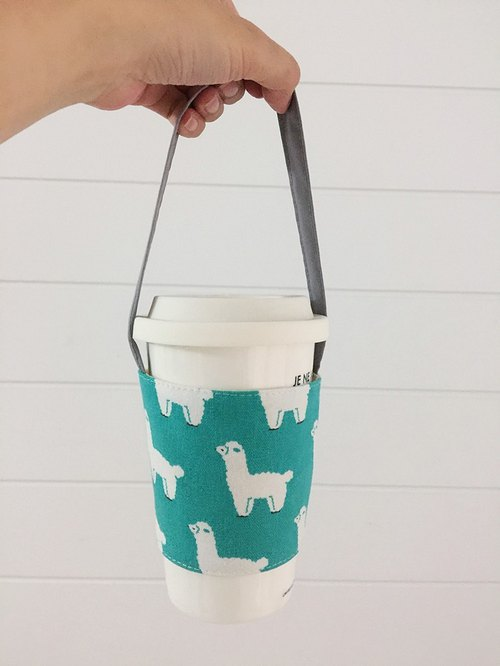 hairmo Mud horse green coffee cup cover / drink cup to mention - blue and green (hand cup. The whole family .711. McDonald's)