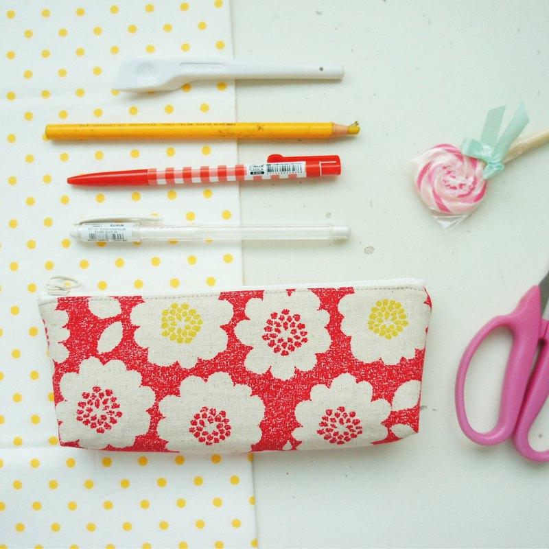 Lovely日本布【花朵筆袋、紅】工具袋