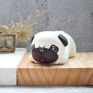 Kumba business card holder paper town decoration handmade wooden healing small wood carving pug