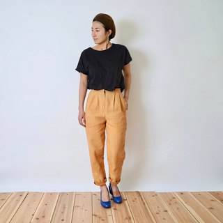 Loose tapered pants  yellow /Mikawa cotton100% / high waist /So_maru × uzu