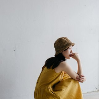 Linen Camisole dress with open back in Mustard