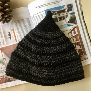 Crochet Elf Beanie in pure wool x merino -Black x grey