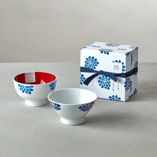 Shizuho Pazo Suki - Blue Painted Flower - Lacquerware Bowl Gift Set (2 pieces)