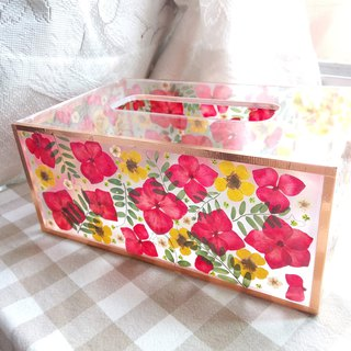Customer order : Be the best, tissue box with pressed flowers