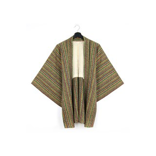 Back to Green-Japan with back feather weave stripe detail flower /vintage kimono