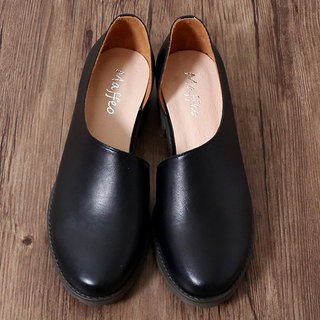 England leather side hollow shoes gradually layered toe cushion oxford black