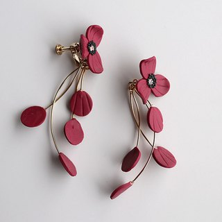 Flower Earrings / Earrings / Bordeaux
