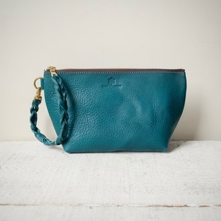 "[Instant delivery possible] Italian leather * Nume leather handbag pouch ""barco"" M (turquoise)"