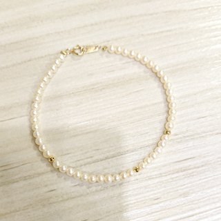 Pure 14K gold full circle mini round pearl K gold ball bracelet