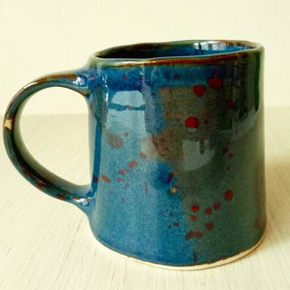 Estimated blue red dot pottery cup