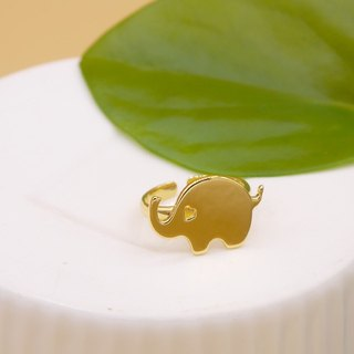 Handmade Little Elephant Ring - 18K gold plated on brass