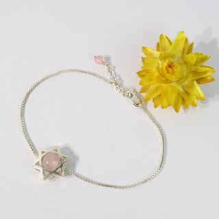 【ColorDay】粉水晶純銀手鍊〈Rose Quartz Silver Star Bracelet〉