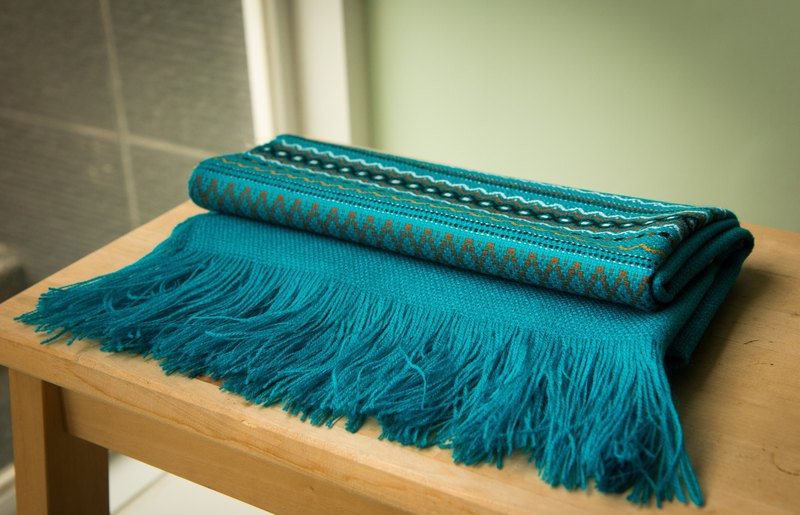 South American Indian Handmade Shawl Turkish Blue
