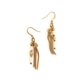 [UNA- excellent Na] handmade tassels Pearl - Copper earhook brass customization natural stones