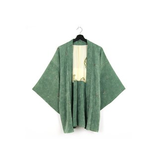 Back to Green-Japan brought back feather weaving celadon green leaf semi-stereo embossing/vintage kimono
