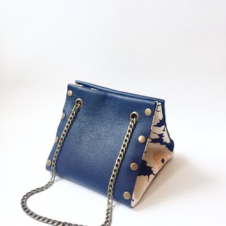 Small Create-your-own Cube Bag with blue leather