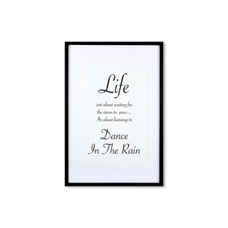 HomePlus Decorative Frame - Cursive Quote DanceInTheRain - Black 63x43cm Homedecor