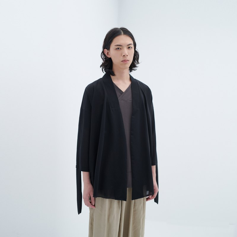 TRAN - Knit Y-collar spliced ​​TEE