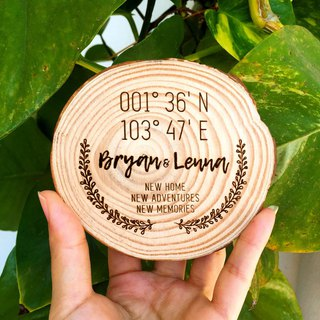 Longitude Latitude Geography Wooden Coaster. New Home Wedding Housewarming Gift.