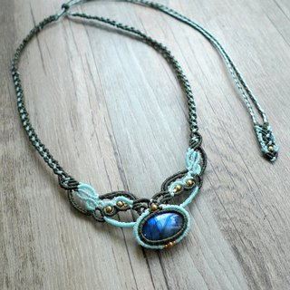 Misssheep N50- Handcrafted Labradorite Macrame Necklace, Bohemian jewelry