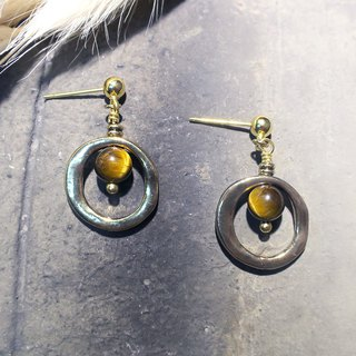 VIIART. Big circle - coffee. Vintage Golden Tiger Eye Earrings - Clipable