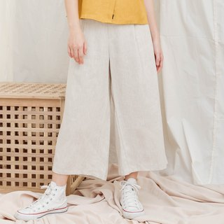 Natural Cropped Wide Leg Pants in Beige Color