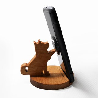 Dog shape love electric shock mobile phone holder mobile phone holder business card frame beech wood