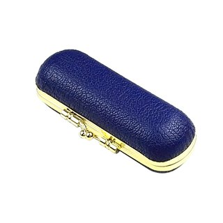 Leather stamp gold box / lipstick box / Italy goatskin / blue