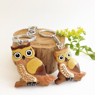 [Handmade wooden x owl keychain / strap] * April