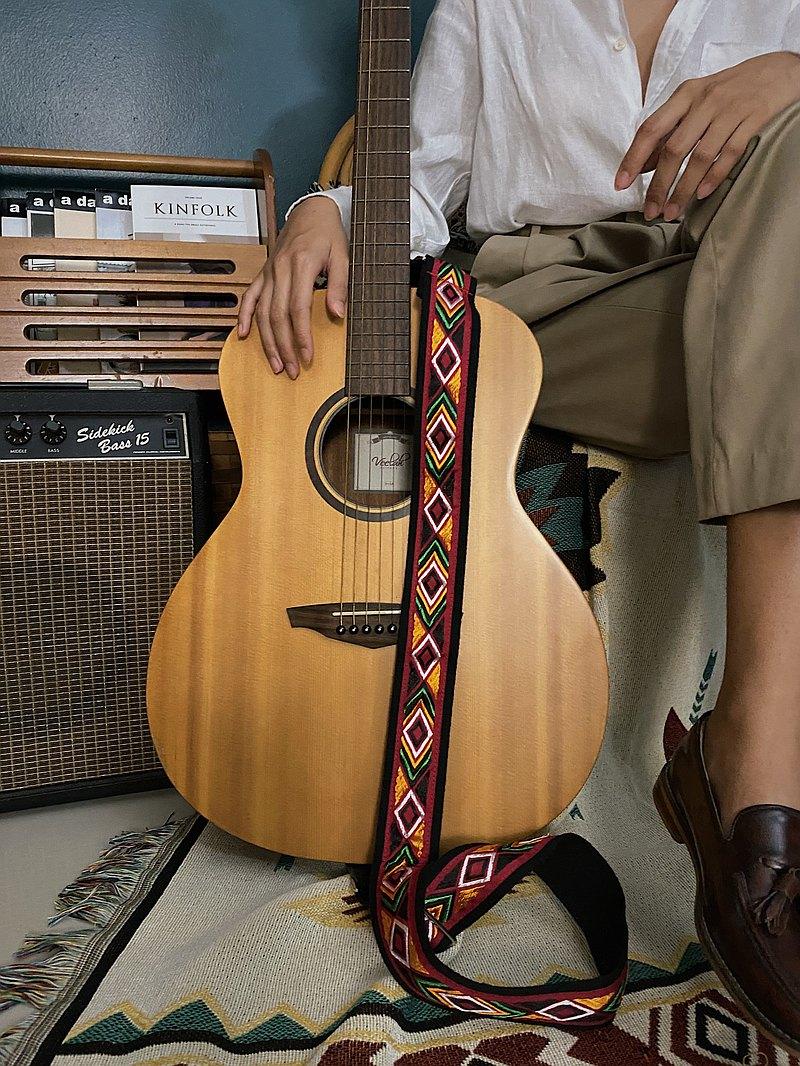 吉他背帶-YES IDID黑色和紅色Argyle風格