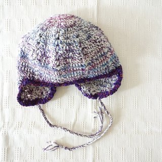 yuoworks / knit hat with earmuffs / gradation color / purple