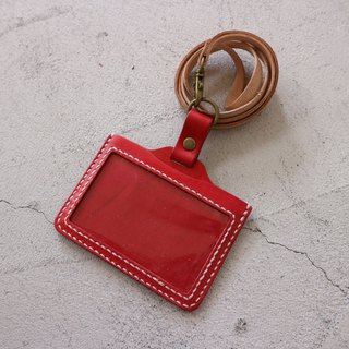 Hand seam identification card holder / horizontal / red body white line