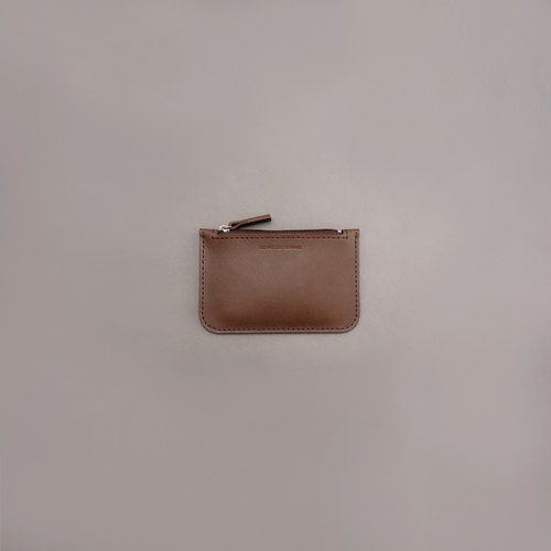 Flat purse leather wallet wallet / brown vegetable tanned leather / handmade leather goods