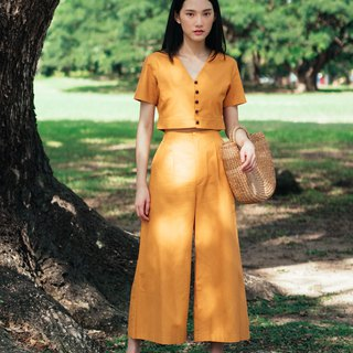 MUSTARD YELLOW WIDE CROP PANTS WITH BACK SHIRRING