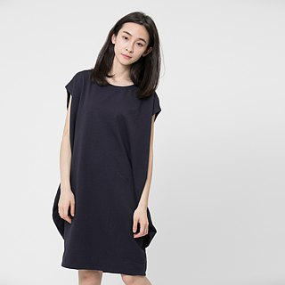 French terry lantern dress / Dark blue