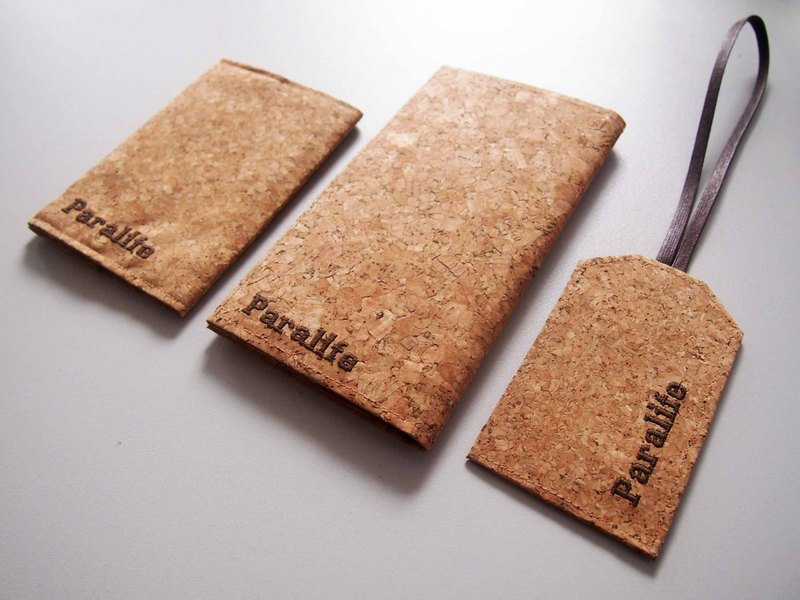 情人節推介(6件裝): 客製自己名字的軟木/木紋軟木  長 護照夾 / 護照套 / 護照本 +護照夾 + 行李牌 (2套, 共6件裝)(雙重優惠)