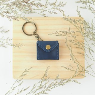 Mini chiffon key ring dark blue small purse envelope styling necklace