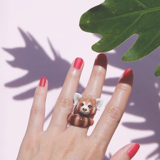 Raph Red Panda Ring . Handcrafted Enamel ,Red Panda Ring .   GOODAFTERNINE