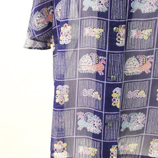 Vintage Childish Peacock Illustration Print Purple Short Sleeve Vintage Shirt Vintage Blouse