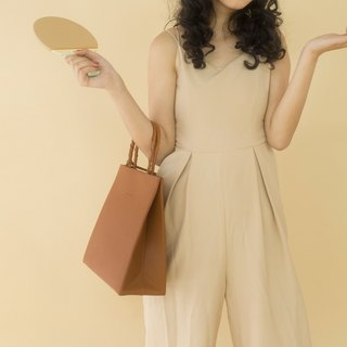 Small milk tea brown imported top layer cowhide minimalist square paper bag shopping tote bag shoulder bag shoulder bag