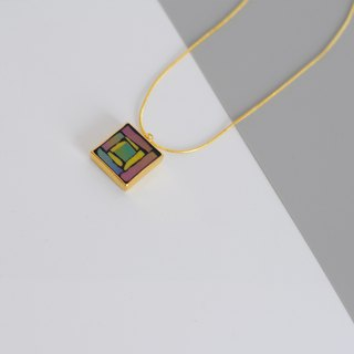 Hand-Made Mosaic Gold Plated Necklace 925 Silver Plated Gold-Purple Purple Square Pendant Geometric Pattern