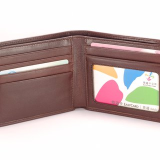 Concise male short clip leather wallet 5 card photo brown paid customized lettering service