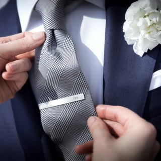 Groom Tie Clip monogrammed - Wedding Tie Clip personalized - 925 sterling silver
